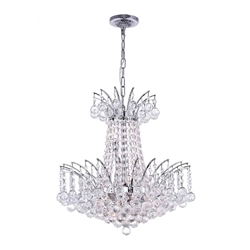 "20"" Elegant Crystal Round Chandelier Chrome / Gold 11 Lights"