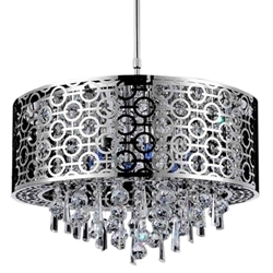 "20"" Forme Modern Laser Cut Drum Shade Round Crystal Pendant Chandelier Stainless Steel 6 Lights"