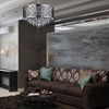 "Picture of 20"" Forme Modern Laser Cut Drum Shade Round Crystal Pendant Chandelier Stainless Steel 6 Lights"