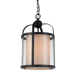 "20"" Lantern Contemporary Rubbed Brown Iron Oversized Round Pendnat 1 Light"
