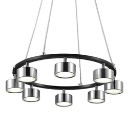 "20"" LED Down Pendant with Black & Chrome finish"