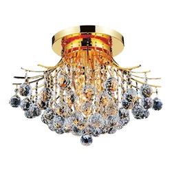 "20"" Monarch Crystal Flush Mount Round Chandelier Chrome / Gold 6 Lights"