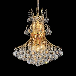 "20"" Monarch Crystal Round Chandelier Chrome / Gold 8 Lights"