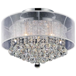 "20"" Organza Contemporary Round Crystal Flush Mount Ceiling Lamp Chrome Finish Black / White Shade and Smoke / Clear Crystals 9 Lights"