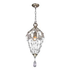"21"" 1 Light Down Mini Chandelier with Speckled Nickel finish"