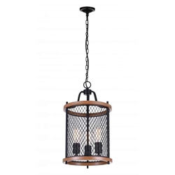 "21"" 3 Light Drum Shade Mini Chandelier with Black finish"