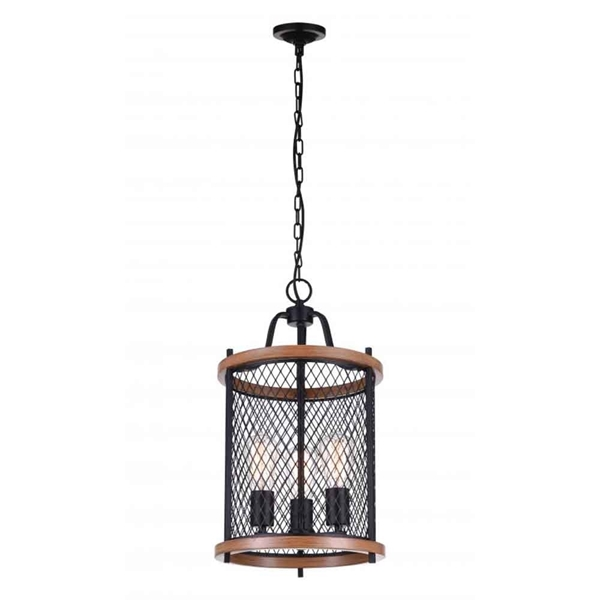 "Picture of 21"" 3 Light Drum Shade Mini Chandelier with Black finish"