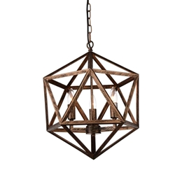 "21"" 3 Light Up Pendant with Antique forged copper finish"