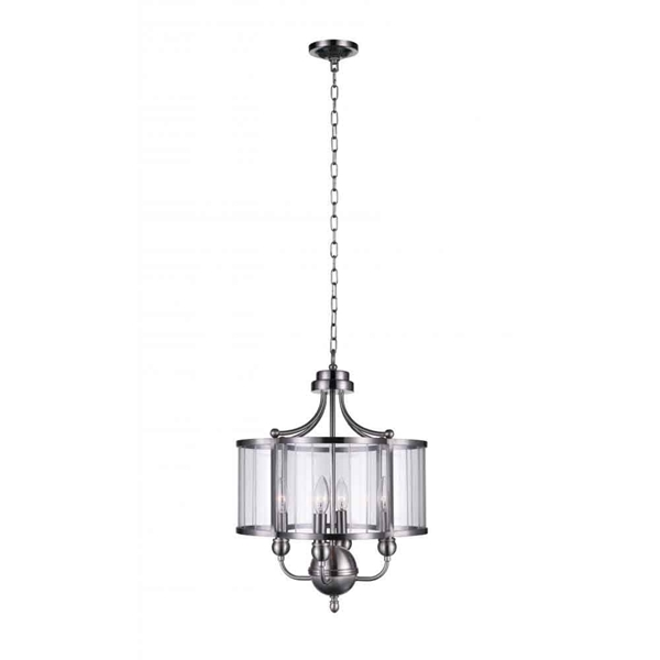 "Picture of 21"" 4 Light Drum Shade Pendant with Satin Nickel finish"