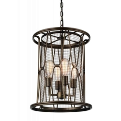 """21"""" 4 Light Up Chandelier with Light Brown finish"""