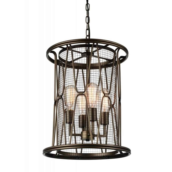 "Picture of 21"" 4 Light Up Chandelier with Light Brown finish"