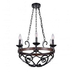 """21"""" 6 Light Candle Chandelier with Gun Metal finish"""