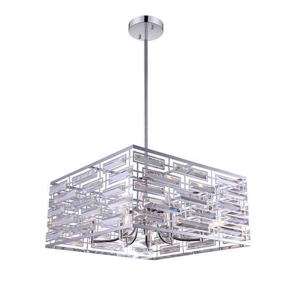 "Picture of 21"" 8 Light Drum Shade Chandelier with Chrome finish"