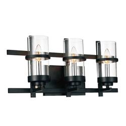 "21"" Sierra Modern Black Iron Rectangular Vanity Light Wall Sconce 3 Lights"