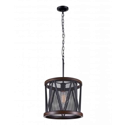 "22"" 1 Light Drum Shade Mini Chandelier with Pewter finish"