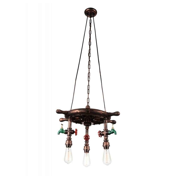 "Picture of 22"" 3 Light Down Chandelier with Speckled copper finish"