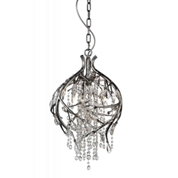 """22"""" 3 Light Down Chandelier with Speckled Nickel finish"""
