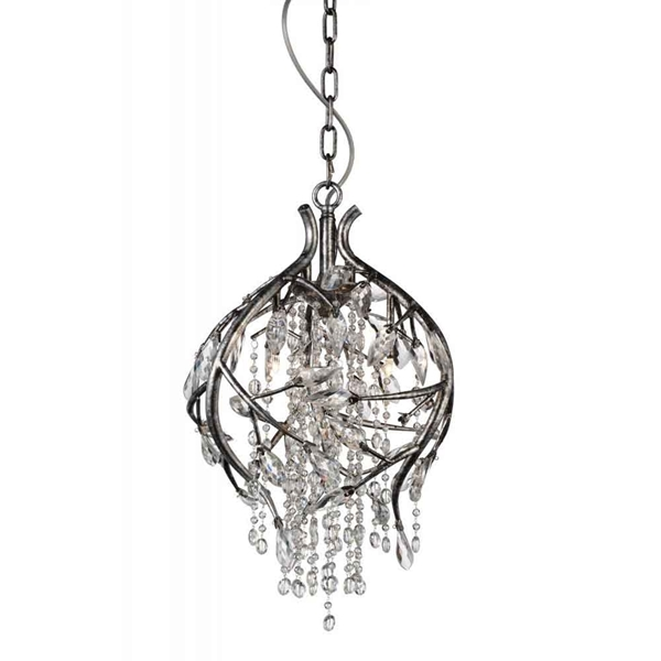 "Picture of 22"" 3 Light Down Chandelier with Speckled Nickel finish"