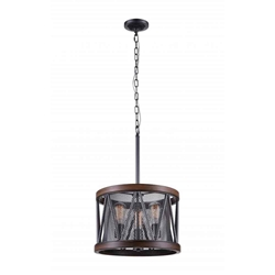 "22"" 3 Light Drum Shade Chandelier with Pewter finish"