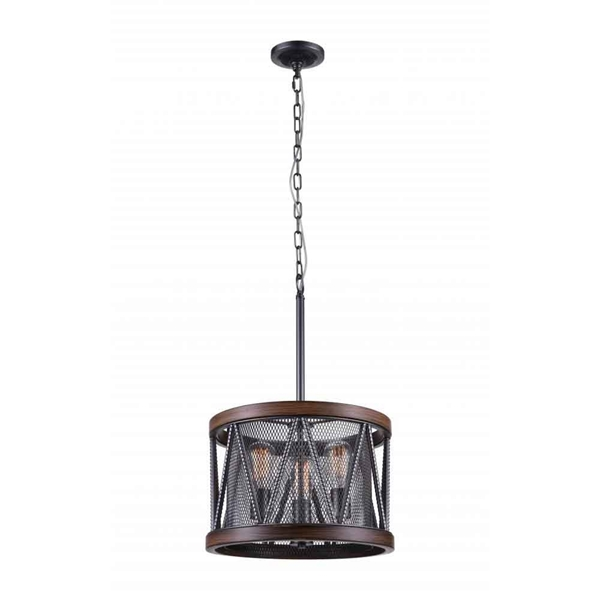 "Picture of 22"" 3 Light Drum Shade Chandelier with Pewter finish"