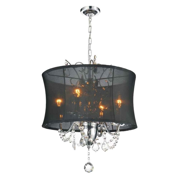 """Picture of 22"""" 4 Light Drum Shade Chandelier with Chrome finish"""