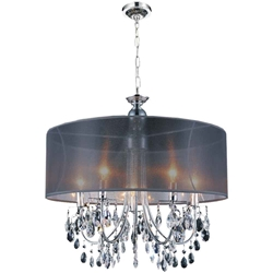 "22"" 5 Light Drum Shade Chandelier with Chrome finish"
