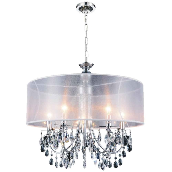 "Picture of 22"" 5 Light Drum Shade Chandelier with Chrome finish"