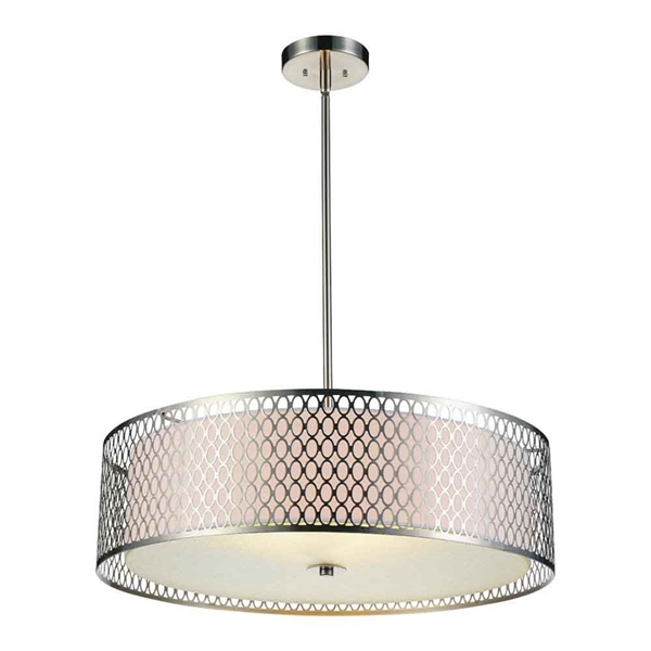"Picture of 22"" 5 Light Drum Shade Chandelier with Satin Nickel finish"