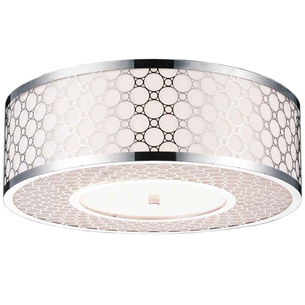 "Picture of 22"" 5 Light Drum Shade Flush Mount with Chrome finish"