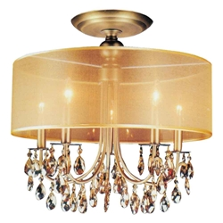 "22"" 5 Light Drum Shade Flush Mount with French Gold finish"