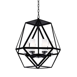 """22"""" 6 Light Candle Chandelier with Black finish"""