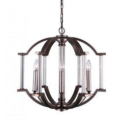 "22"" 6 Light Candle Chandelier with Brownish Silver finish"