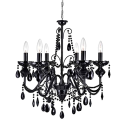 "22"" 6 Light Up Chandelier with Black finish"