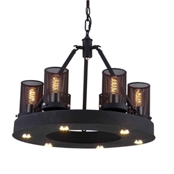 """22"""" 6 Light Up Chandelier with Rust finish"""