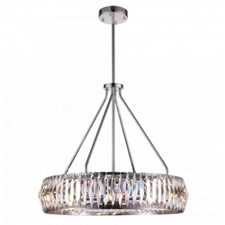 "22"" 8 Light Down Chandelier with Bright Nickel finish"