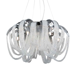 "22"" 8 Light Down Chandelier with Chrome finish"