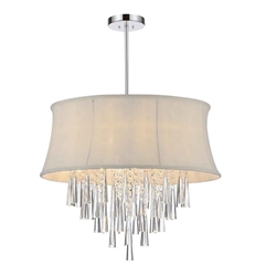 """22"""" 8 Light Drum Shade Chandelier with Chrome finish"""