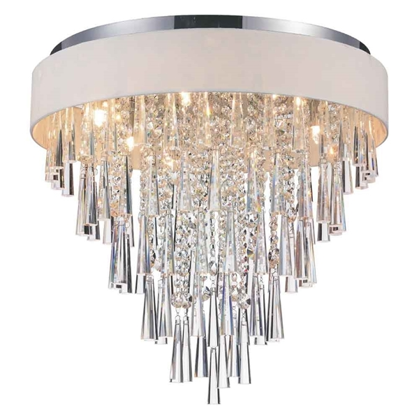"""Picture of 22"""" 8 Light Drum Shade Flush Mount with Chrome finish"""