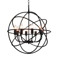"""22"""" 8 Light Up Chandelier with Brown finish"""