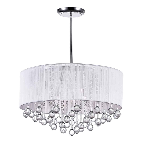 "Picture of 22"" 9 Light Drum Shade Chandelier with Chrome finish"