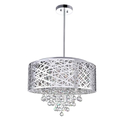 """22"""" 9 Light Drum Shade Chandelier with Chrome finish"""