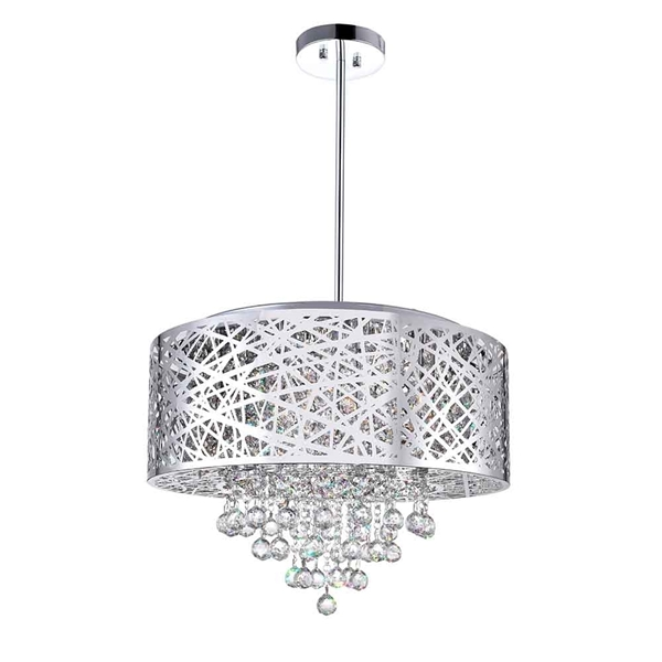 """Picture of 22"""" 9 Light Drum Shade Chandelier with Chrome finish"""