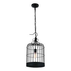 "22"" Bird Cage Contemporary Black Iron Large Round Pendant 1 Light"
