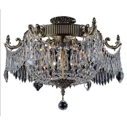 "22"" Caro Traditional Crystal Round Semi-Flush Mount Ceiling Lamp Antique Brass 6 Lights"