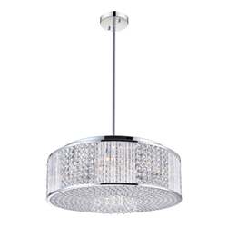 "22"" Cristallo Modern Crystal Round Pendant Chandelier Polished Chrome 12 Lights"