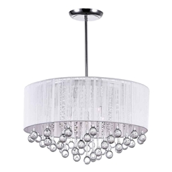 "22"" Gocce Modern String Drum Shade Crystal Round Chandelier Polished Chrome with Black / White / Silver Shade 9 Lights"