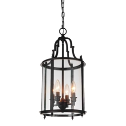 "22"" Lantern Contemporary Rubbed Oil Bronze Round Chandelier 4 Lights"
