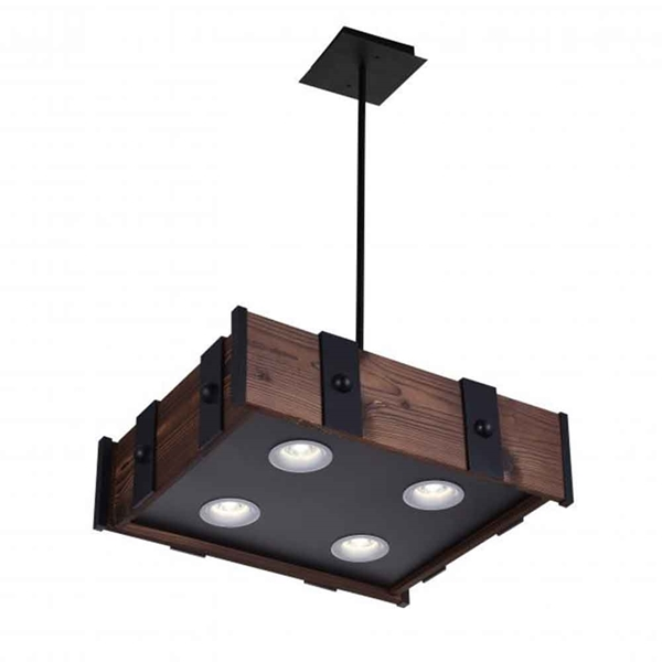 """Picture of 22"""" LED Drum Shade Island Light with Black finish"""
