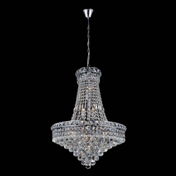 "22"" Primo Transitional Crystal Round Chandelier Chrome / Gold 14 Lights"
