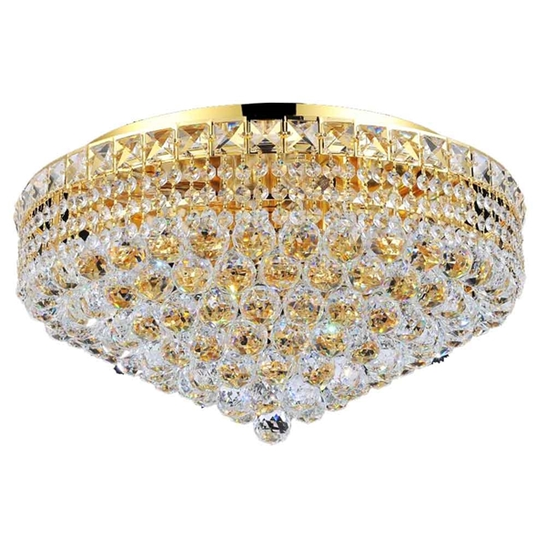 "Picture of 22"" Primo Transitional Round Crystal Flush Mount Ceiling Chandelier Gold Plated 12 Lights"
